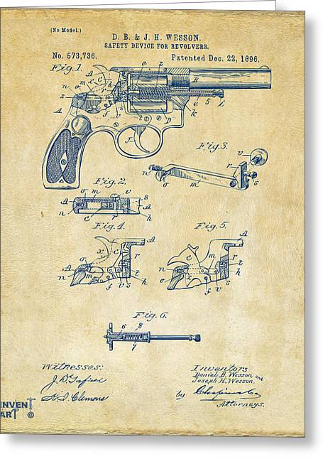Bangs Greeting Cards - 1896 Wesson Safety Device Revolver Patent Artwork - Vintage Greeting Card by Nikki Marie Smith