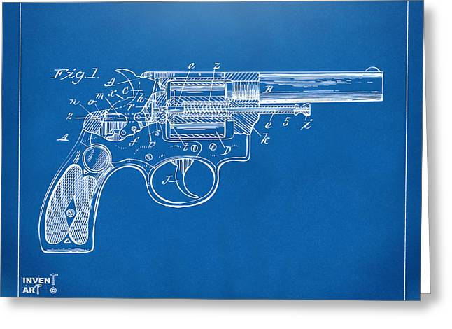 Xray Greeting Cards - 1896 Wesson Safety Device Revolver Patent Minimal - Blueprint Greeting Card by Nikki Marie Smith