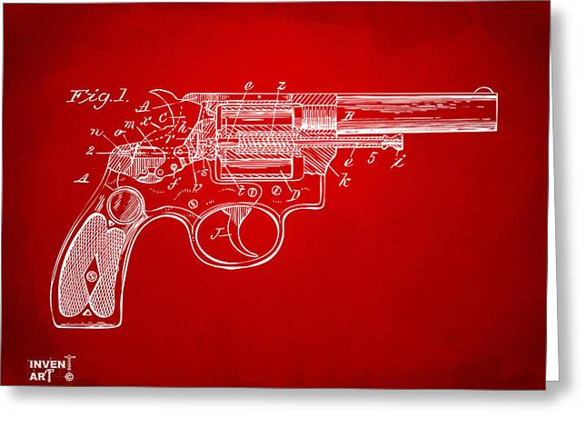 Xray Greeting Cards - 1896 Wesson Safety Device Revolver Patent Minimal - Red Greeting Card by Nikki Marie Smith