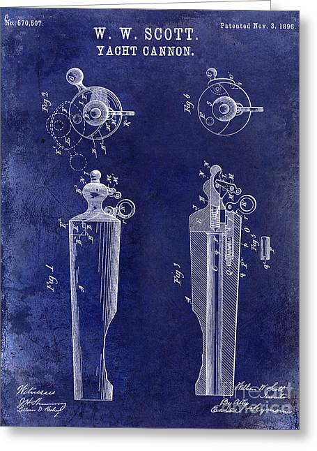 Cannons Greeting Cards - 1896 Yacht Cannon Patent Drawing Blue Greeting Card by Jon Neidert