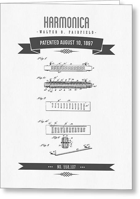 Jazz Drawing Greeting Cards - 1897 Harmonica Patent Drawing Greeting Card by Aged Pixel