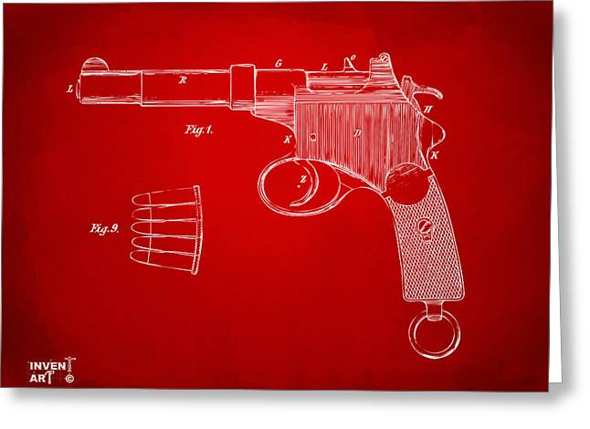 Blue Red And White Greeting Cards - 1897 Mannlicher Pistol Patent Minimal - Red Greeting Card by Nikki Marie Smith