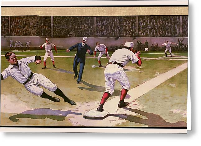 1898 BASEBALL -  AMERICAN PASTIME  Greeting Card by Daniel Hagerman