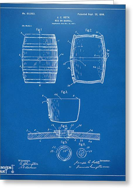 Food And Beverage Digital Art Greeting Cards - 1898 Beer Keg Patent Artwork - Blueprint Greeting Card by Nikki Marie Smith