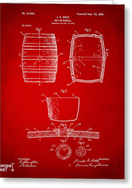 Bar Decor Greeting Cards - 1898 Beer Keg Patent Artwork - Red Greeting Card by Nikki Marie Smith