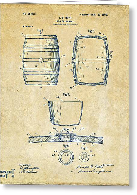 Bar Decor Greeting Cards - 1898 Beer Keg Patent Artwork - Vintage Greeting Card by Nikki Marie Smith