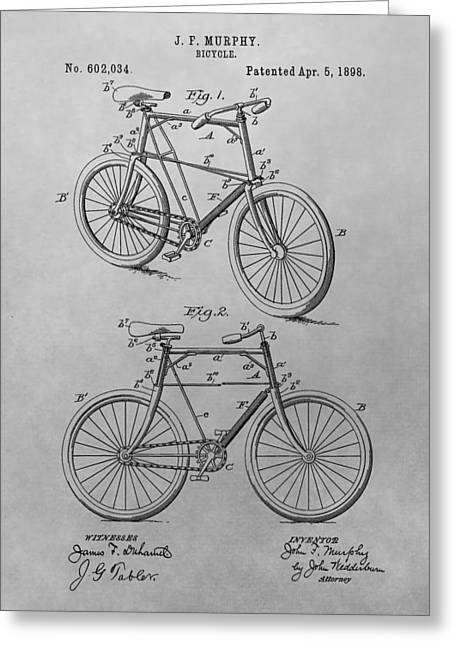 Vintage Bicycle Greeting Cards - 1898 Bicycle Patent Drawing Greeting Card by Dan Sproul
