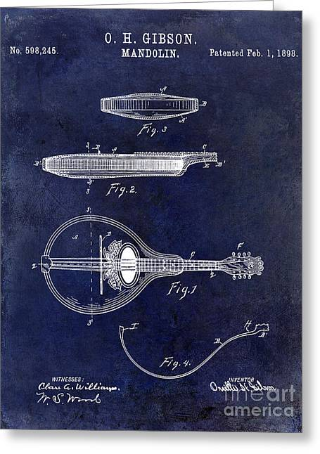 Ohs Greeting Cards - 1898 Gibson Mandolin Patent Drawing Blue Greeting Card by Jon Neidert