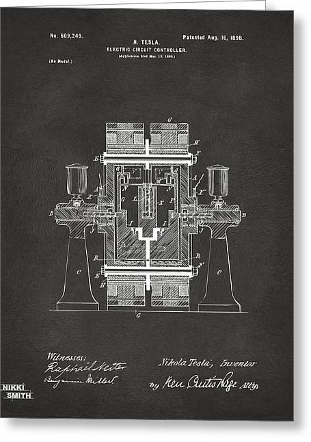 Mens Greeting Cards - 1898 Tesla Electric Circuit Patent Artwork - Gray Greeting Card by Nikki Marie Smith