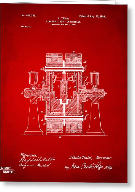 Nicola. Greeting Cards - 1898 Tesla Electric Circuit Patent Artwork - Red Greeting Card by Nikki Marie Smith