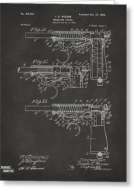 Magazine Art Greeting Cards - 1898 Wesson Magazine Pistol Patent Artwork 2 - Gray Greeting Card by Nikki Marie Smith