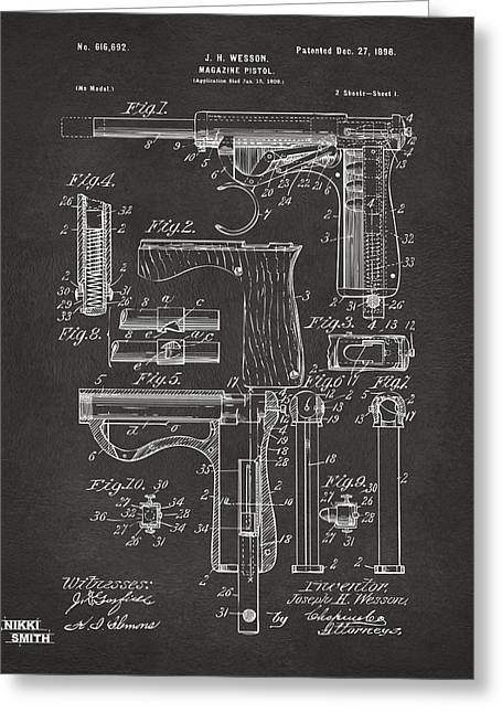 Gift For Greeting Cards - 1898 Wesson Magazine Pistol Patent Artwork - Gray Greeting Card by Nikki Marie Smith