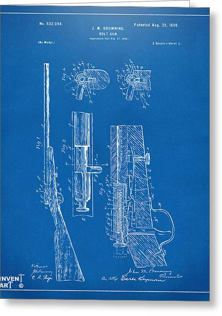 Browning Greeting Cards - 1899 Browning Bolt Gun Patent Blueprint Greeting Card by Nikki Marie Smith