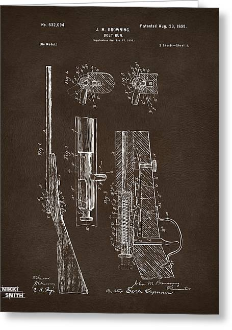 Browning Greeting Cards - 1899 Browning Bolt Gun Patent Espresso Greeting Card by Nikki Marie Smith