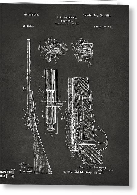 Browning Greeting Cards - 1899 Browning Bolt Gun Patent Gray Greeting Card by Nikki Marie Smith