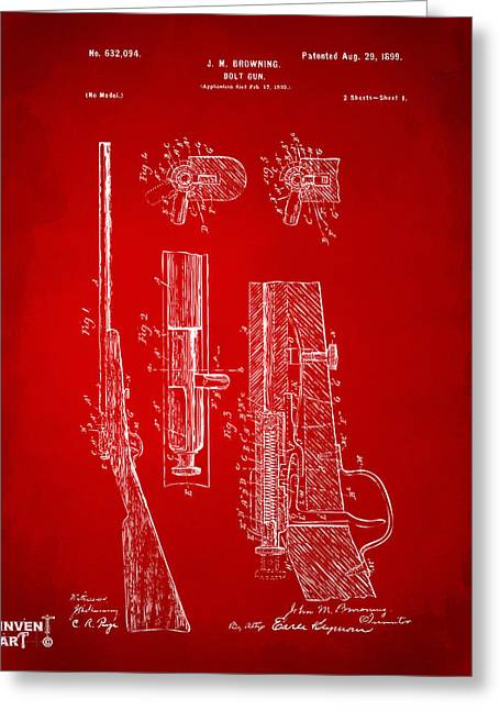 Browning Greeting Cards - 1899 Browning Bolt Gun Patent Red Greeting Card by Nikki Marie Smith
