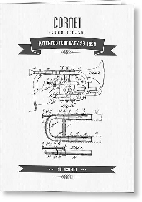 Instrument Mixed Media Greeting Cards - 1899 Cornet Patent Drawing Greeting Card by Aged Pixel