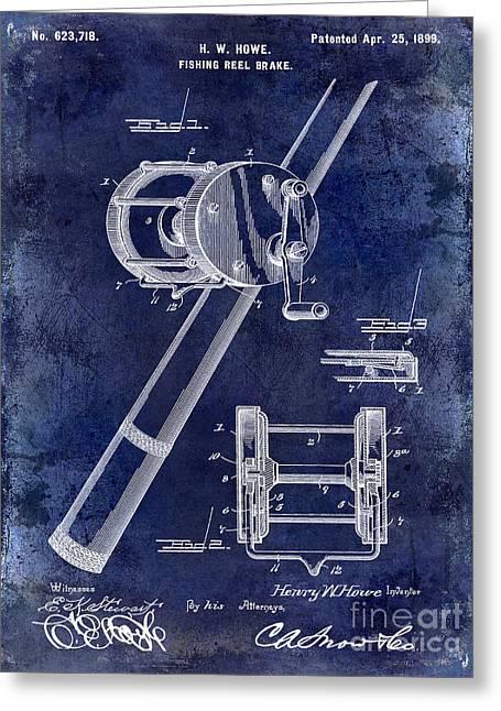 Kenai Lake Greeting Cards - 1899 Fishing Reel Brake Patent Drawing Blue Greeting Card by Jon Neidert