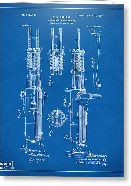 Machine Digital Art Greeting Cards - 1899 Garland Automatic Machine Gun Patent Artwork - Blueprint Greeting Card by Nikki Marie Smith