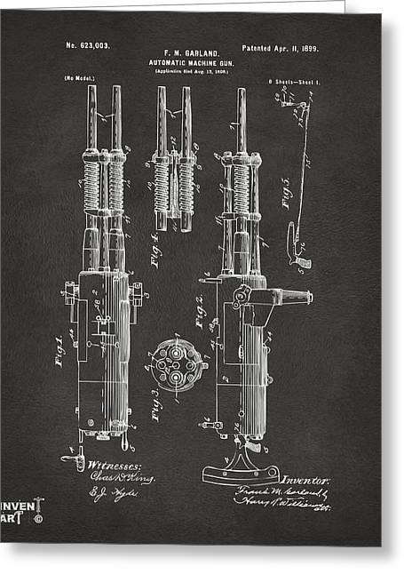 Machine Gun Greeting Cards - 1899 Garland Automatic Machine Gun Patent Artwork - Gray Greeting Card by Nikki Marie Smith