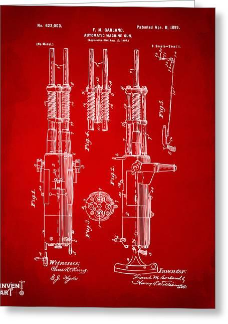 Machine Digital Art Greeting Cards - 1899 Garland Automatic Machine Gun Patent Artwork - Red Greeting Card by Nikki Marie Smith