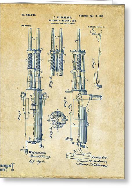 Machine Digital Art Greeting Cards - 1899 Garland Automatic Machine Gun Patent Artwork - Vintage Greeting Card by Nikki Marie Smith