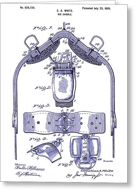 1899 Greeting Cards - 1899 Gig Saddle Patent Drawing Blueprint Greeting Card by Jon Neidert