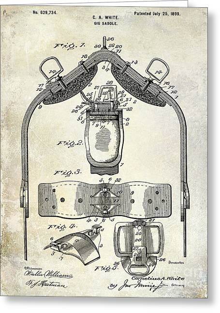 1899 Greeting Cards - 1899 Gig Saddle Patent Drawing Greeting Card by Jon Neidert