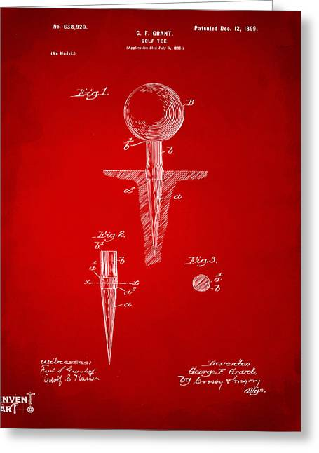 Putter Greeting Cards - 1899 Golf Tee Patent Artwork Red Greeting Card by Nikki Marie Smith
