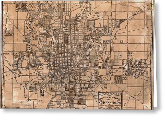 Indiana Photography Greeting Cards - 1899 Indianapolis Map Greeting Card by Dan Sproul