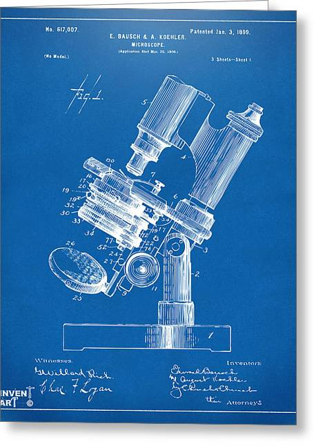 Researcher Greeting Cards - 1899 Microscope Patent Blueprint Greeting Card by Nikki Marie Smith