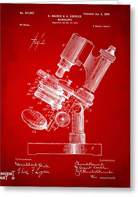 Researcher Greeting Cards - 1899 Microscope Patent Red Greeting Card by Nikki Marie Smith