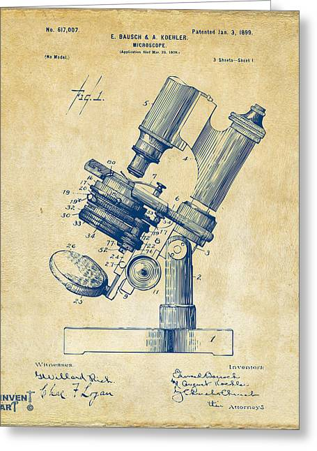 D Greeting Cards - 1899 Microscope Patent Vintage Greeting Card by Nikki Marie Smith