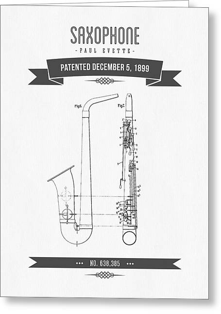 Saxophone Greeting Cards - 1899 Saxophone Patent Drawing Greeting Card by Aged Pixel
