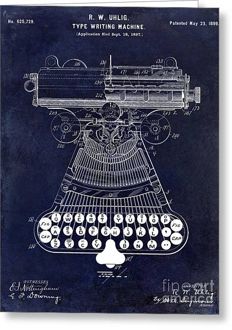 Reporter Greeting Cards - 1899 Type Writer Patent drawing Blue 2 Greeting Card by Jon Neidert