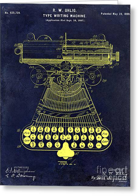 Reporter Greeting Cards - 1899 Type Writer Patent drawing Blue Greeting Card by Jon Neidert