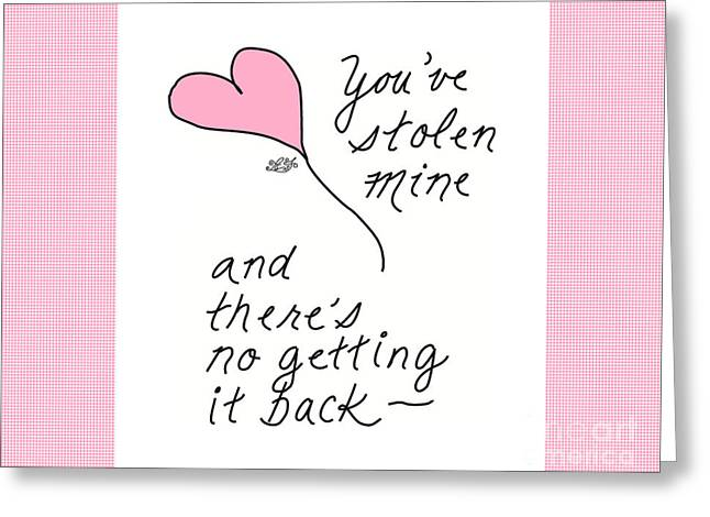 Steal Greeting Cards Greeting Cards - #18A Stolen Heart Pink For Baby Greeting Card Greeting Card by Angie Forshier