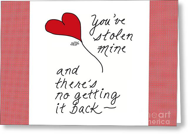 Steal Greeting Cards Greeting Cards - #18CAF Stolen Heart Red Valentine Greeting Card Greeting Card by Angie Forshier
