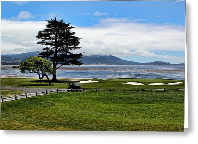 Scenic Drive Greeting Cards - 18th at Pebble Beach Greeting Card by Judy Vincent