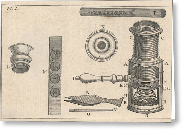 Component Greeting Cards - 18th Century microscope, artwork Greeting Card by Science Photo Library
