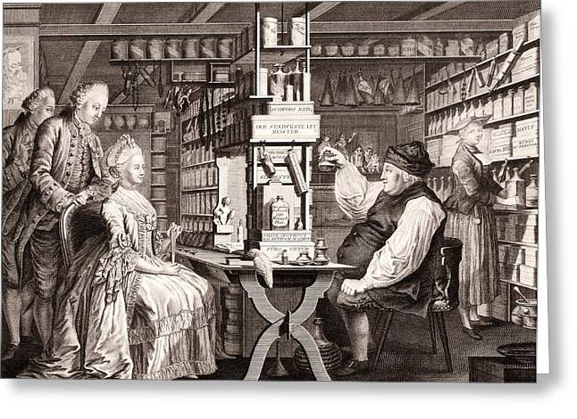 Clients Greeting Cards - 18th Century pharmacy, historical Greeting Card by Science Photo Library