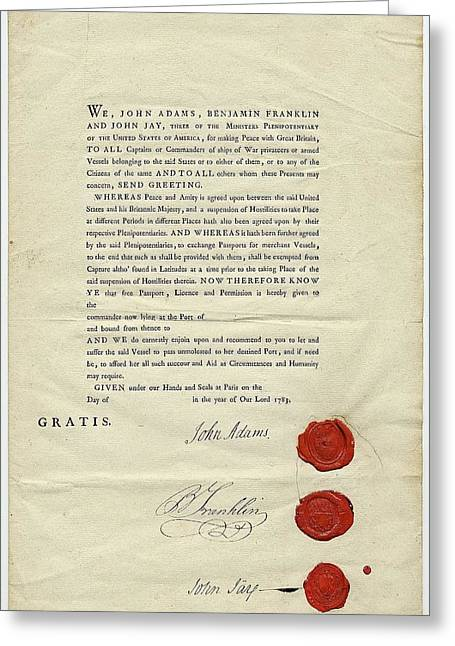 18th Century Us Ship's Passport Greeting Card by American Philosophical Society