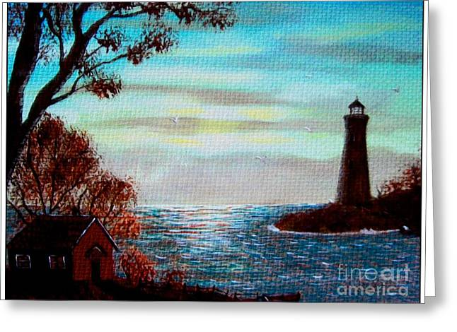 Sunset Tapestries - Textiles Greeting Cards - Sunset Lighthouse Duvet Greeting Card by Barbara Griffin