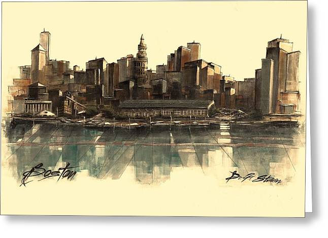 Fineartamerica Greeting Cards - Boston Skyline Greeting Card by Diane Strain