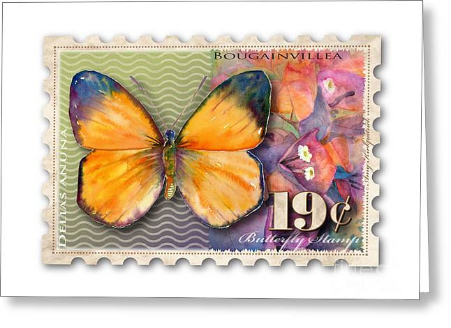 Nineteen Greeting Cards - 19 Cent Butterfly Stamp Greeting Card by Amy Kirkpatrick