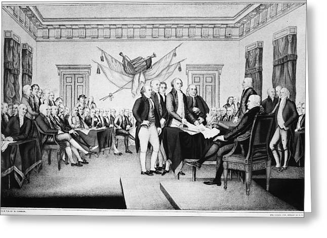 Statesman Greeting Cards - Declaration Of Independence Greeting Card by Granger