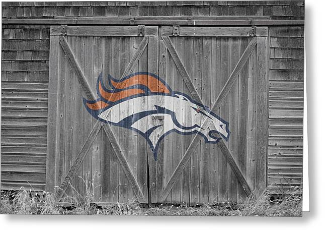 Barn Door Greeting Cards - Denver Broncos Greeting Card by Joe Hamilton