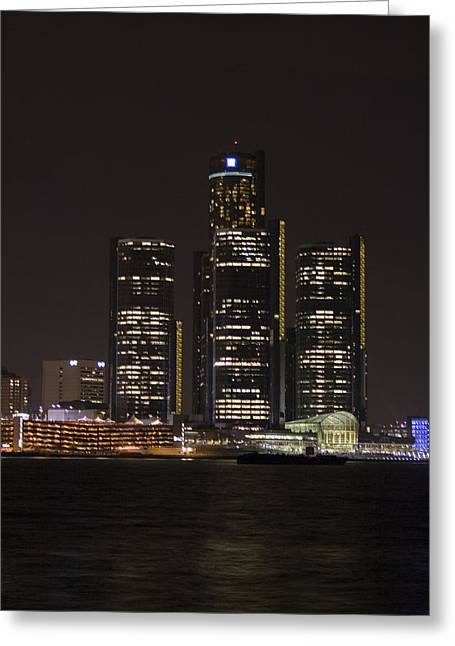 Recently Sold -  - Renaissance Center Greeting Cards - Detroit Skyline Greeting Card by Gary Marx
