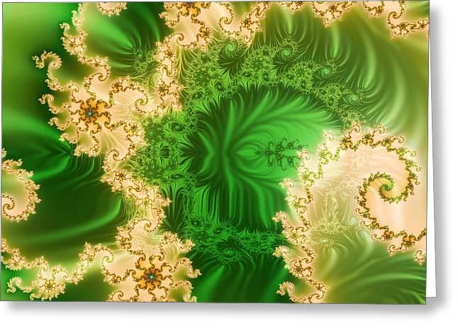 Patterned Ceramics Greeting Cards - Fantasy fractal Greeting Card by Odon Czintos