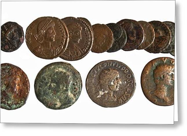 19 Greek, Phoenician And Roman Coins Greeting Card by Science Photo Library